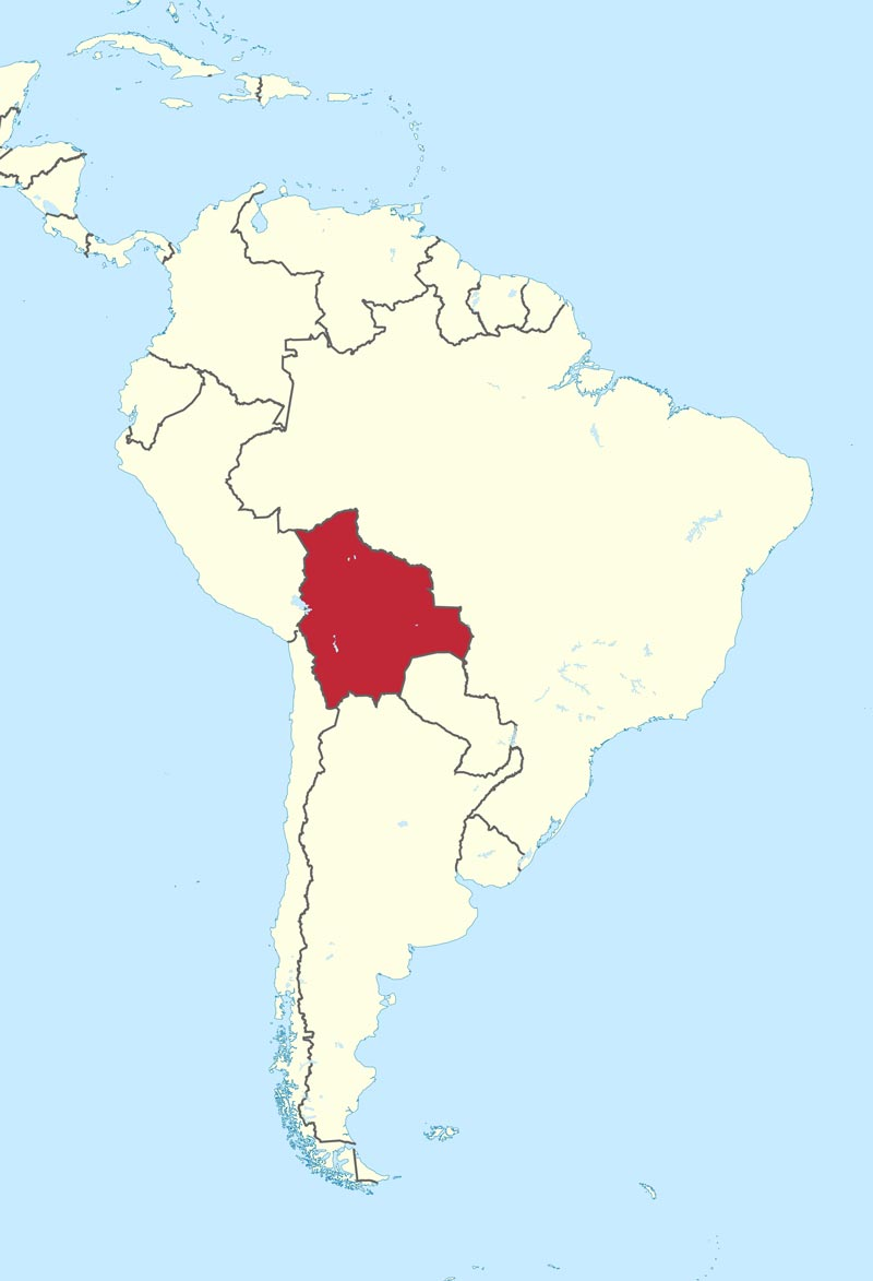map of Bolivia, south america