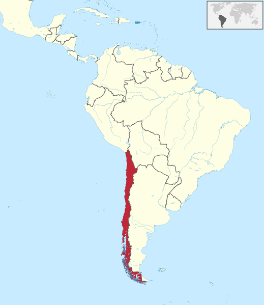 map of Chile, south america